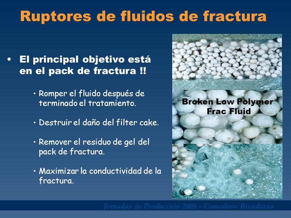 Jornadas de Producción 2008 – Comodoro Rivadavia Ruptores de fluidos de fractura El principal objetivo está en el pack de fractura !! Romper el fluido