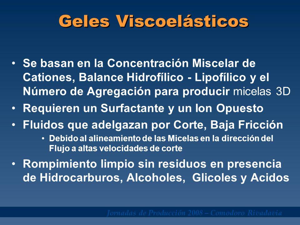 Jornadas de Producción 2008 – Comodoro Rivadavia Comportamiento del Gel Viscoelástico 0.1 1 10 100 1000 Shear Rate (sec -1 ) Viscosity (poise) 100 10 1 0.1 Newtonian-Silicone Oil Non-Newtonian-Fluid Viscoso Viscoelástico