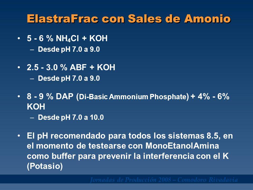 Jornadas de Producción 2008 – Comodoro Rivadavia ElastraFrac con Sales de Amonio 5 - 6 % NH 4 Cl + KOH –Desde pH 7.0 a 9.0 2.5 - 3.0 % ABF + KOH –Desd
