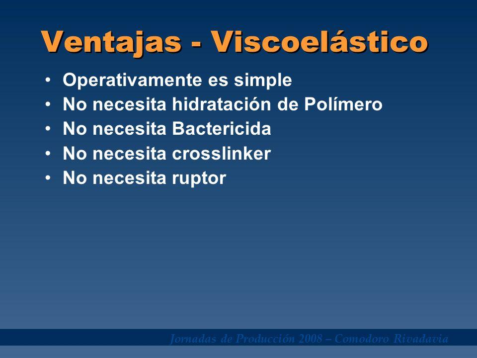 Jornadas de Producción 2008 – Comodoro Rivadavia Operativamente es simple No necesita hidratación de Polímero No necesita Bactericida No necesita cros