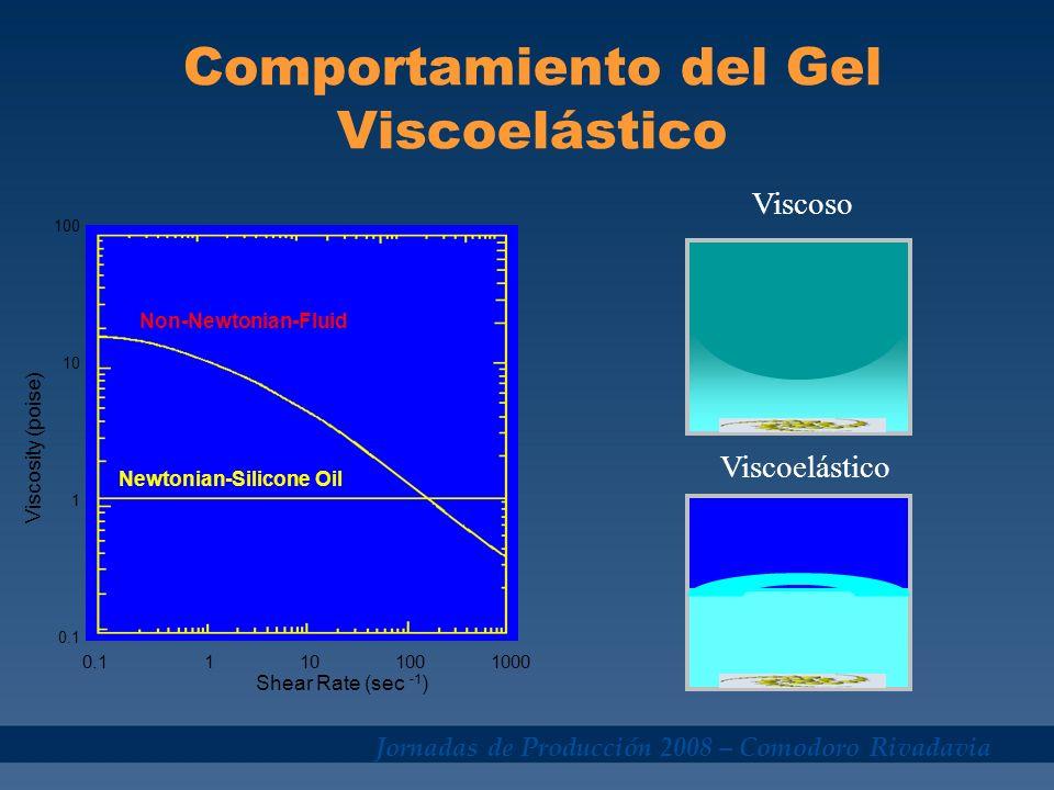 Jornadas de Producción 2008 – Comodoro Rivadavia Viscoelasticidad Gel 3D Surfactantes monómeros Aumento de concentración O adición de aditivos Micela Aumento de concentración Ruptura al contactar petróleo, condensado, dilución,etc.
