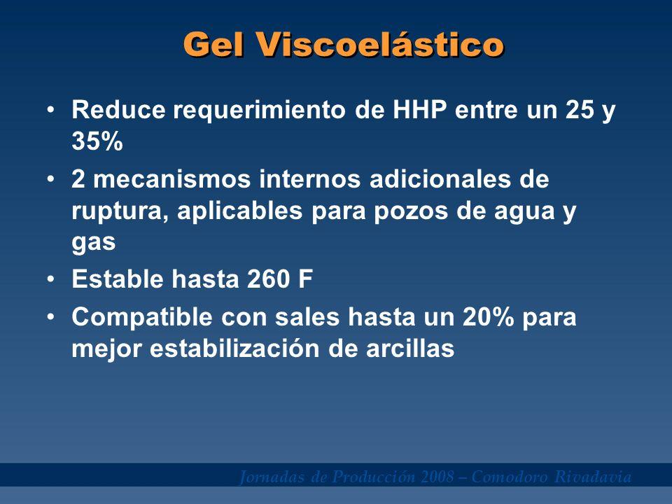 Jornadas de Producción 2008 – Comodoro Rivadavia Gel Viscoelástico Reduce requerimiento de HHP entre un 25 y 35% 2 mecanismos internos adicionales de