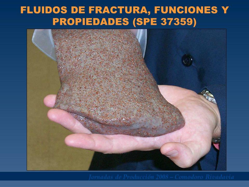 Jornadas de Producción 2008 – Comodoro Rivadavia FLUIDOS DE FRACTURA, FUNCIONES Y PROPIEDADES (SPE 37359) Viscoso, para iniciar y propagar la fractura.Viscoso, para iniciar y propagar la fractura.