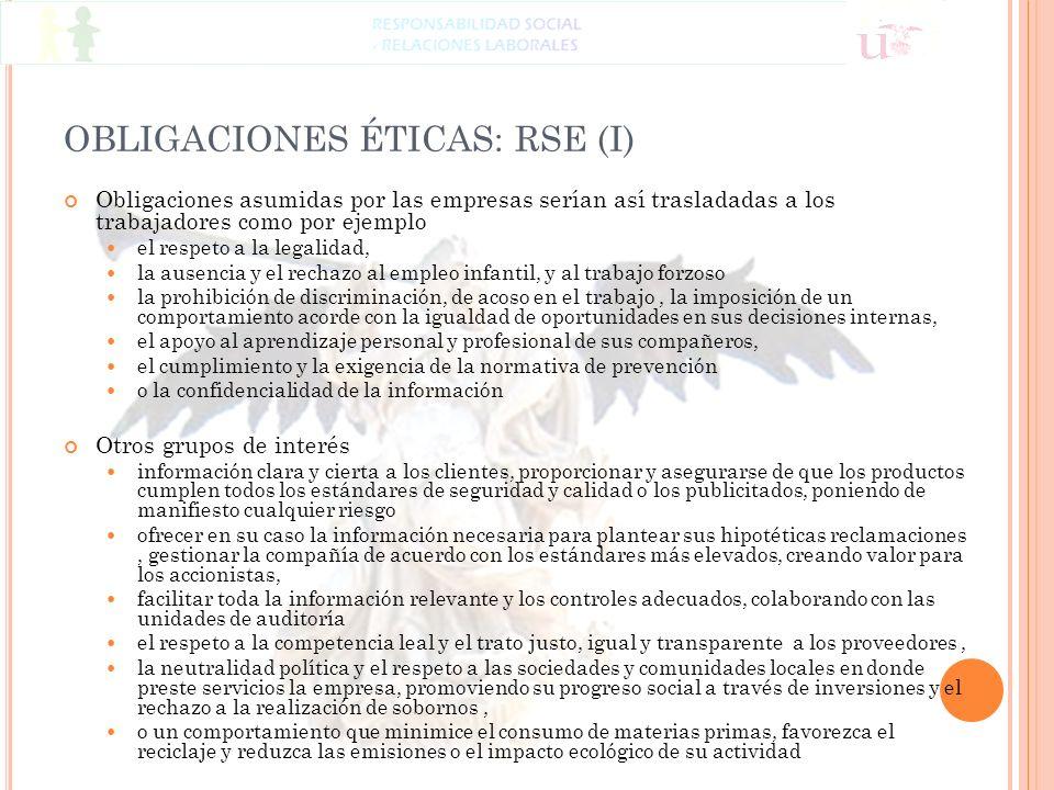 OBLIGACIONES ÉTICAS: RSE (I) Obligaciones asumidas por las empresas serían así trasladadas a los trabajadores como por ejemplo el respeto a la legalid