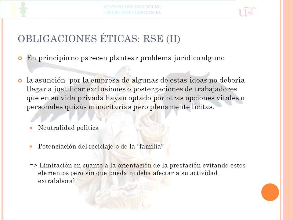 OBLIGACIONES ÉTICAS: RSE (II) En principio no parecen plantear problema jurídico alguno la asunción por la empresa de algunas de estas ideas no deberí