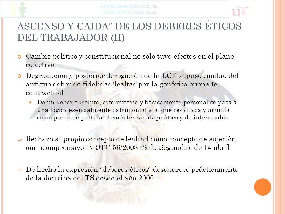 ASCENSO Y CAIDA DE LOS DEBERES ÉTICOS DEL TRABAJADOR (II) Cambio político y constitucional no sólo tuvo efectos en el plano colectivo Degradación y po