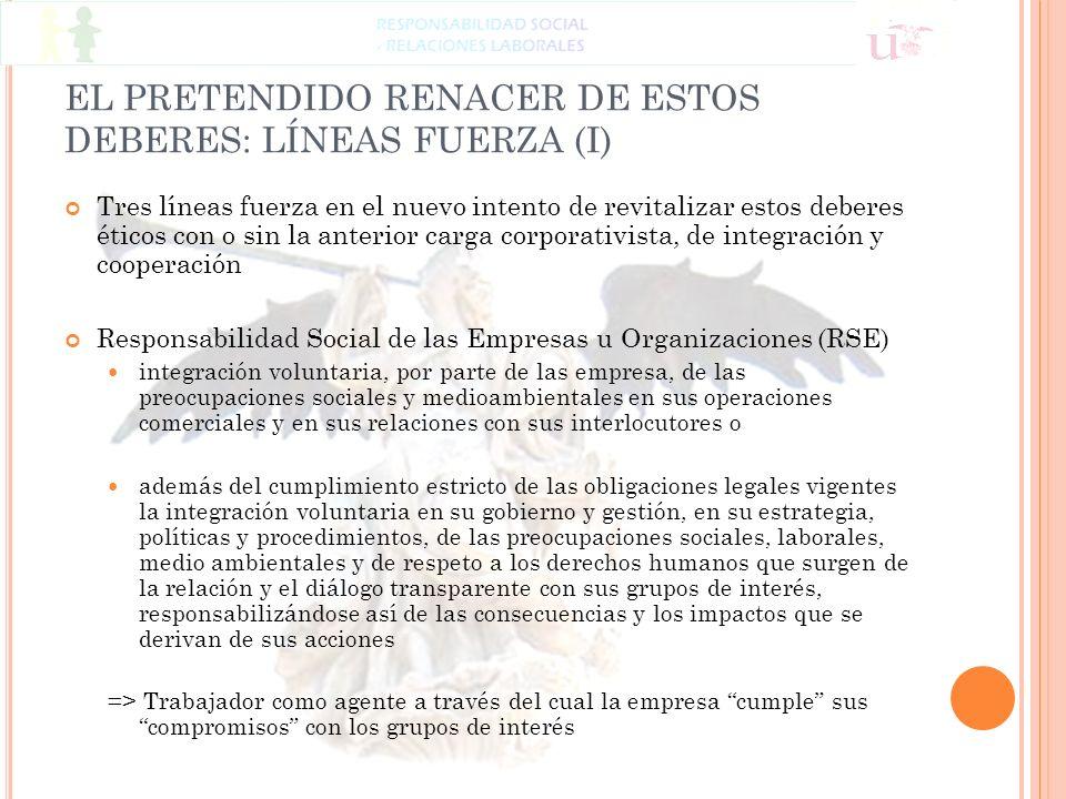 EL PRETENDIDO RENACER DE ESTOS DEBERES: LÍNEAS FUERZA (I) Tres líneas fuerza en el nuevo intento de revitalizar estos deberes éticos con o sin la ante