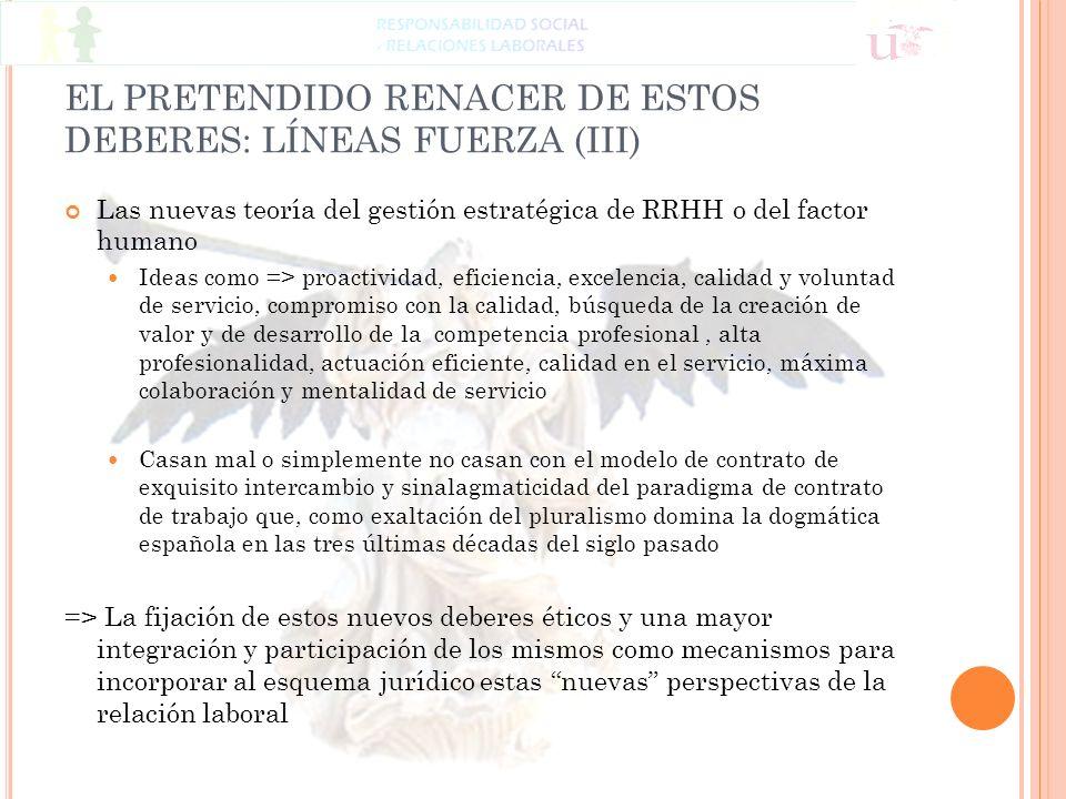 EL PRETENDIDO RENACER DE ESTOS DEBERES: LÍNEAS FUERZA (III) Las nuevas teoría del gestión estratégica de RRHH o del factor humano Ideas como => proact