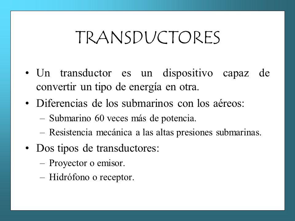 TRANSDUCTORES Un transductor es un dispositivo capaz de convertir un tipo de energía en otra. Diferencias de los submarinos con los aéreos: –Submarino