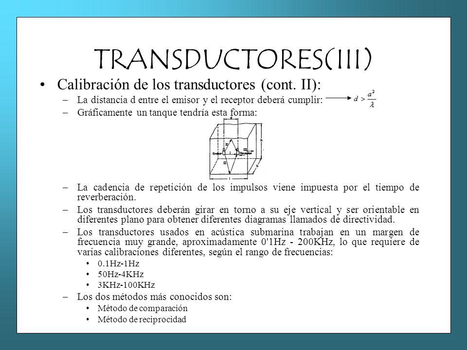 TRANSDUCTORES(III) Calibración de los transductores (cont. II): –La distancia d entre el emisor y el receptor deberá cumplir: –Gráficamente un tanque