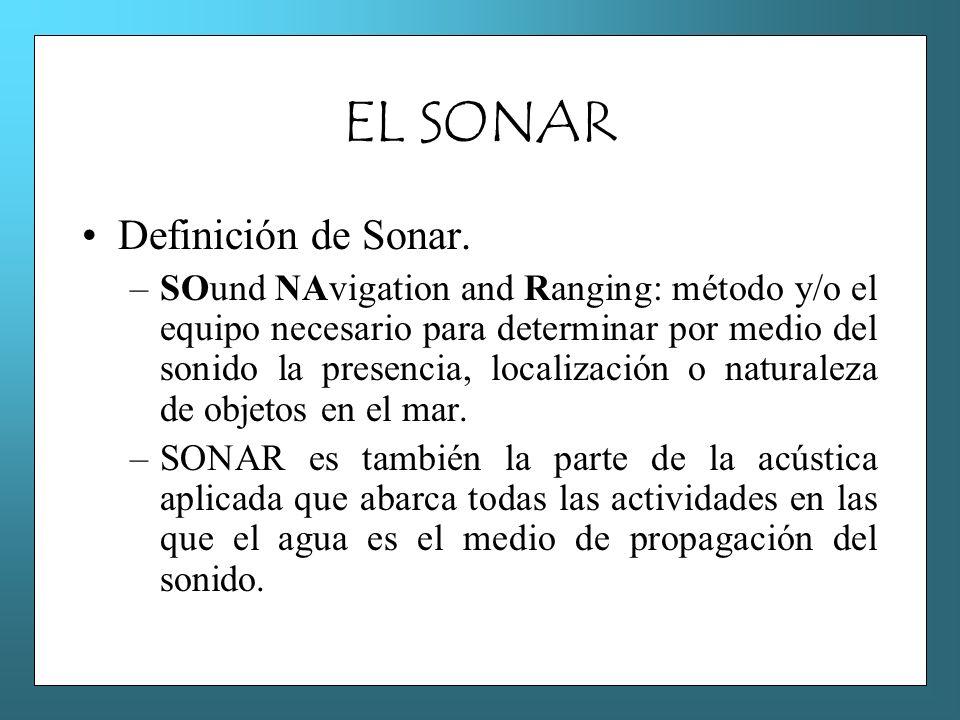 EL SONAR Definición de Sonar. –SOund NAvigation and Ranging: método y/o el equipo necesario para determinar por medio del sonido la presencia, localiz