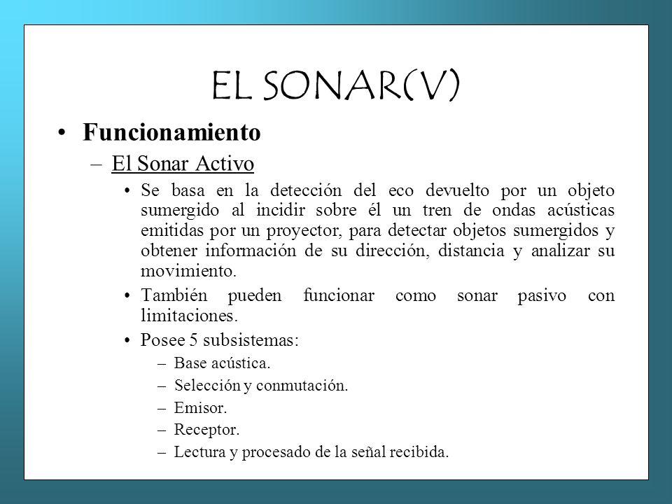 EL SONAR(V) Funcionamiento –El Sonar Activo Se basa en la detección del eco devuelto por un objeto sumergido al incidir sobre él un tren de ondas acús