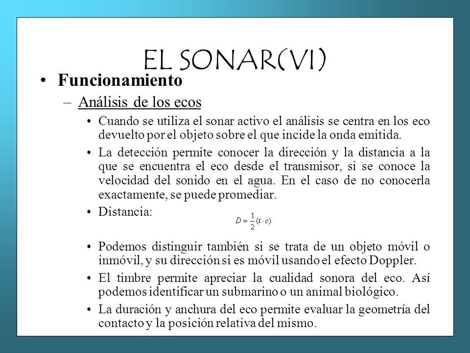 EL SONAR(VI) Funcionamiento –Análisis de los ecos Cuando se utiliza el sonar activo el análisis se centra en los eco devuelto por el objeto sobre el q
