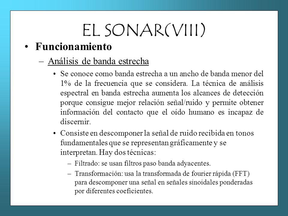 EL SONAR(VIII) Funcionamiento –Análisis de banda estrecha Se conoce como banda estrecha a un ancho de banda menor del 1% de la frecuencia que se consi