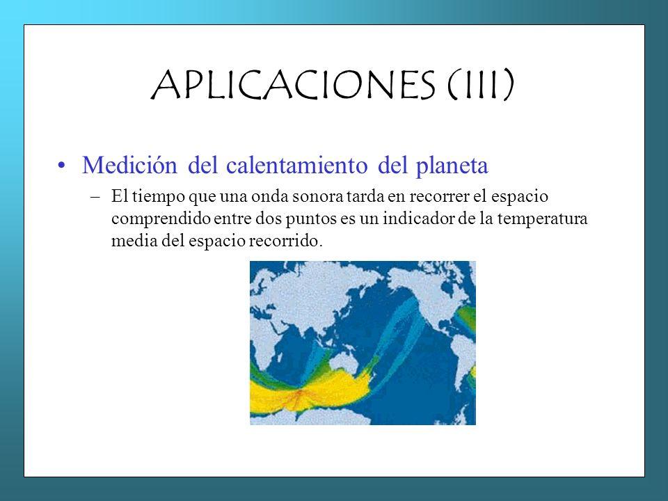 APLICACIONES (III) Medición del calentamiento del planeta –El tiempo que una onda sonora tarda en recorrer el espacio comprendido entre dos puntos es