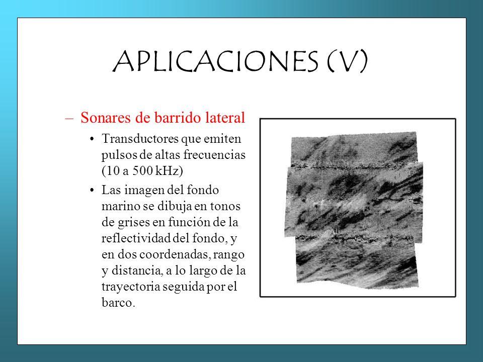 APLICACIONES (V) –Sonares de barrido lateral Transductores que emiten pulsos de altas frecuencias (10 a 500 kHz) Las imagen del fondo marino se dibuja