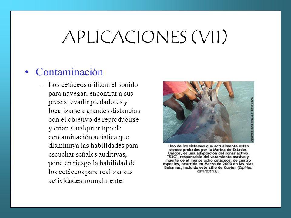 APLICACIONES (VII) Contaminación –Los cetáceos utilizan el sonido para navegar, encontrar a sus presas, evadir predadores y localizarse a grandes dist