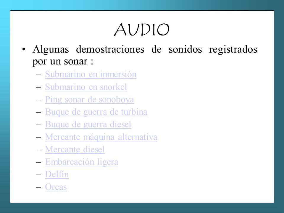 AUDIO Algunas demostraciones de sonidos registrados por un sonar : –Submarino en inmersiónSubmarino en inmersión –Submarino en snorkelSubmarino en sno