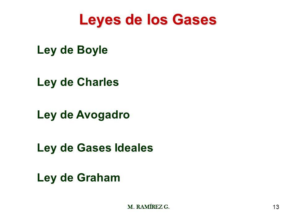 M. RAMÍREZ G.13 Leyes de los Gases Ley de Boyle Ley de Charles Ley de Avogadro Ley de Gases Ideales Ley de Graham