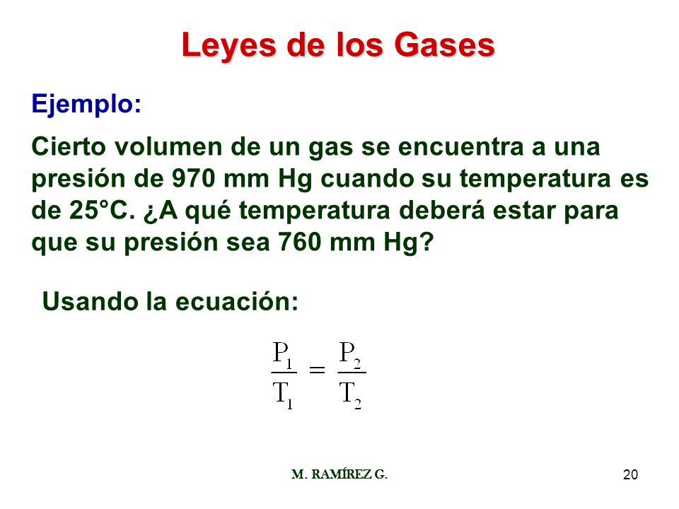 M. RAMÍREZ G.20 Leyes de los Gases Ejemplo: Cierto volumen de un gas se encuentra a una presión de 970 mm Hg cuando su temperatura es de 25°C. ¿A qué