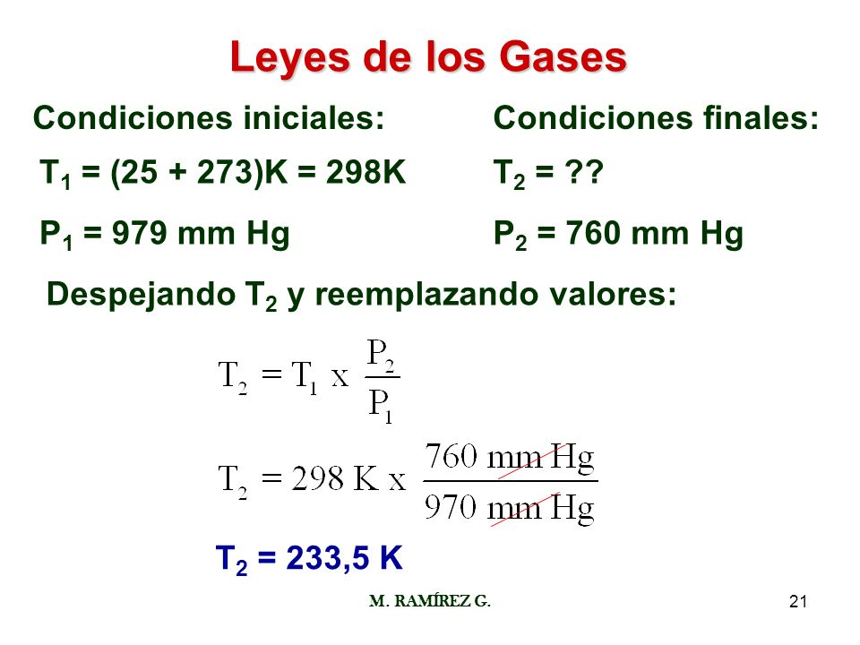 M. RAMÍREZ G.21 Leyes de los Gases Condiciones iniciales:Condiciones finales: T 1 = (25 + 273)K = 298K P 1 = 979 mm Hg T 2 = ?? P 2 = 760 mm Hg Despej