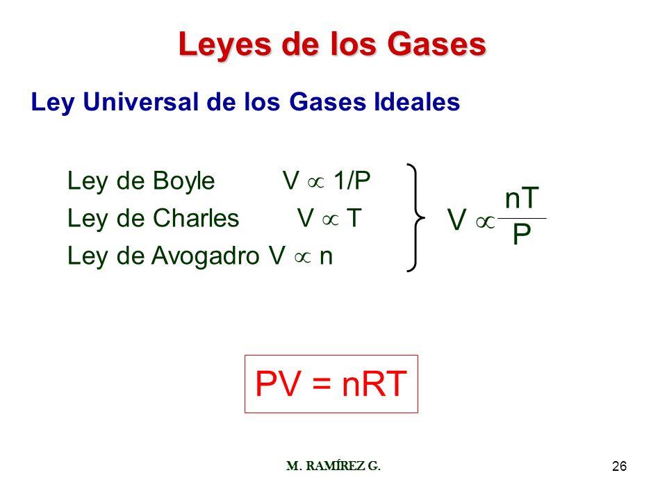 M. RAMÍREZ G.26 Leyes de los Gases Ley Universal de los Gases Ideales Ley de Boyle V 1/P Ley de Charles V T Ley de Avogadro V n V nT P PV = nRT