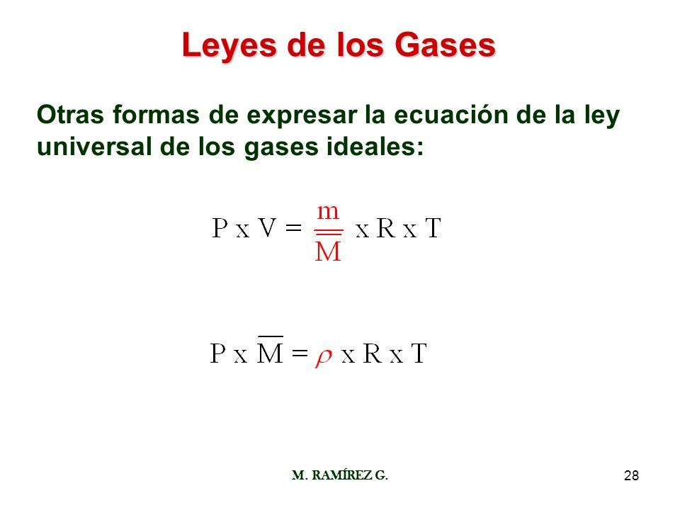 M. RAMÍREZ G.28 Leyes de los Gases Otras formas de expresar la ecuación de la ley universal de los gases ideales: