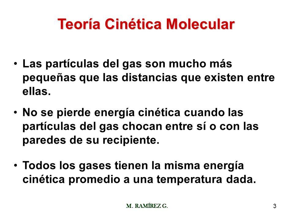 M. RAMÍREZ G.3 Teoría Cinética Molecular Las partículas del gas son mucho más pequeñas que las distancias que existen entre ellas. No se pierde energí