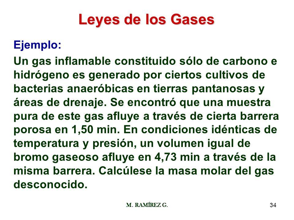 M. RAMÍREZ G.34 Leyes de los Gases Ejemplo: Un gas inflamable constituido sólo de carbono e hidrógeno es generado por ciertos cultivos de bacterias an