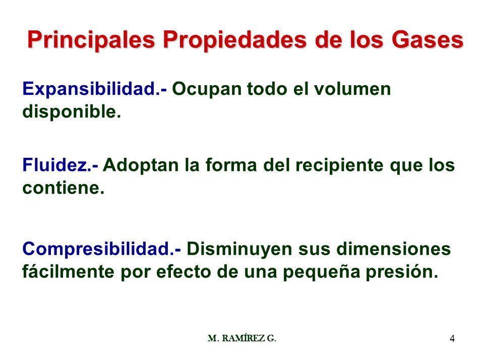 M. RAMÍREZ G.4 Principales Propiedades de los Gases Expansibilidad.- Ocupan todo el volumen disponible. Fluidez.- Adoptan la forma del recipiente que