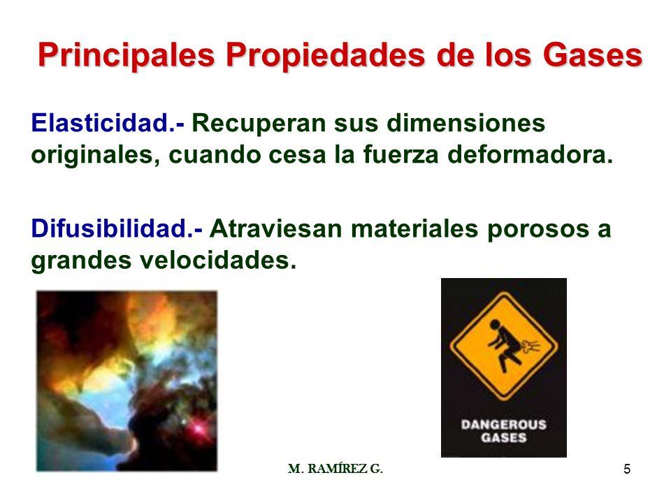 M. RAMÍREZ G.5 Principales Propiedades de los Gases Elasticidad.- Recuperan sus dimensiones originales, cuando cesa la fuerza deformadora. Difusibilid