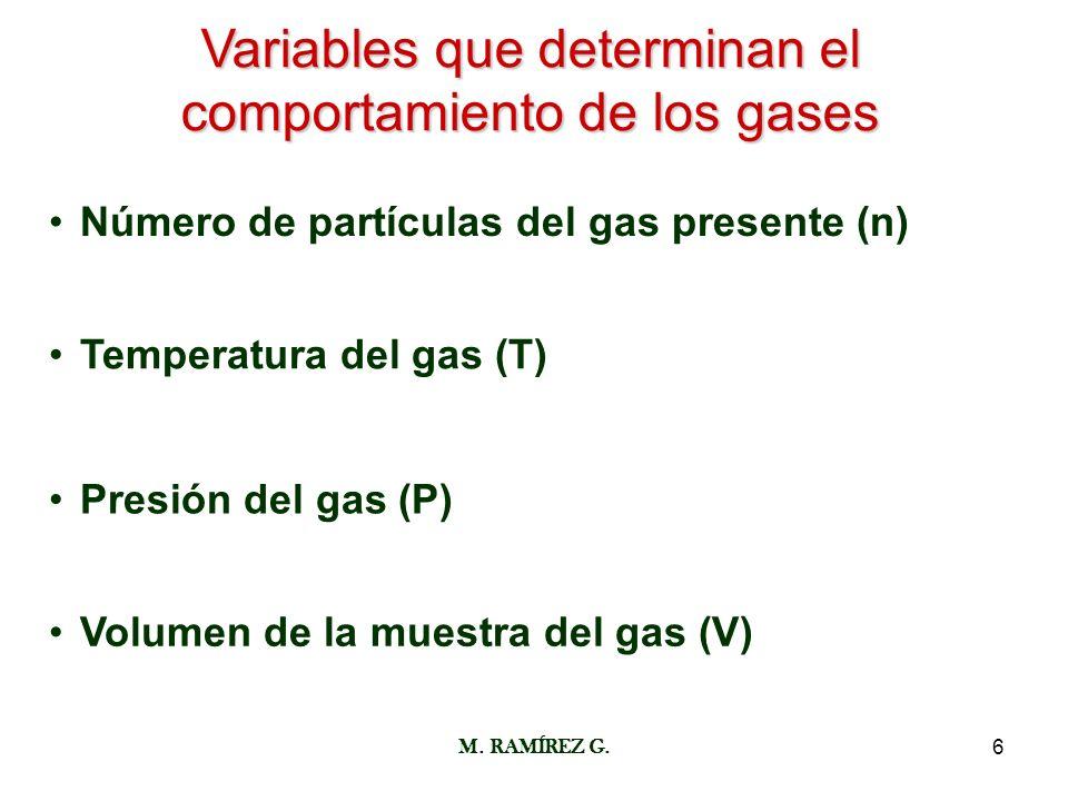 M. RAMÍREZ G.6 Variables que determinan el comportamiento de los gases Número de partículas del gas presente (n) Temperatura del gas (T) Presión del g