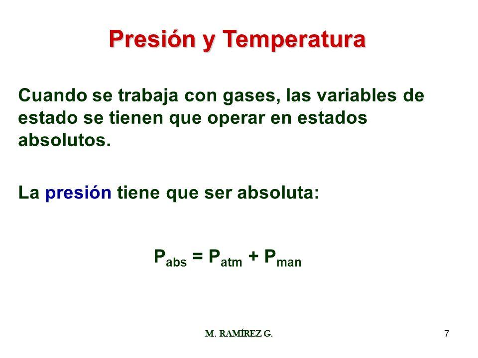 M. RAMÍREZ G.7 Presión y Temperatura Cuando se trabaja con gases, las variables de estado se tienen que operar en estados absolutos. La presión tiene