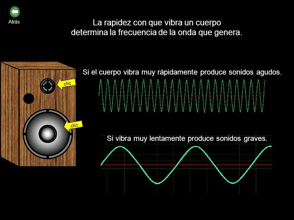La rapidez con que vibra un cuerpo determina la frecuencia de la onda que genera.