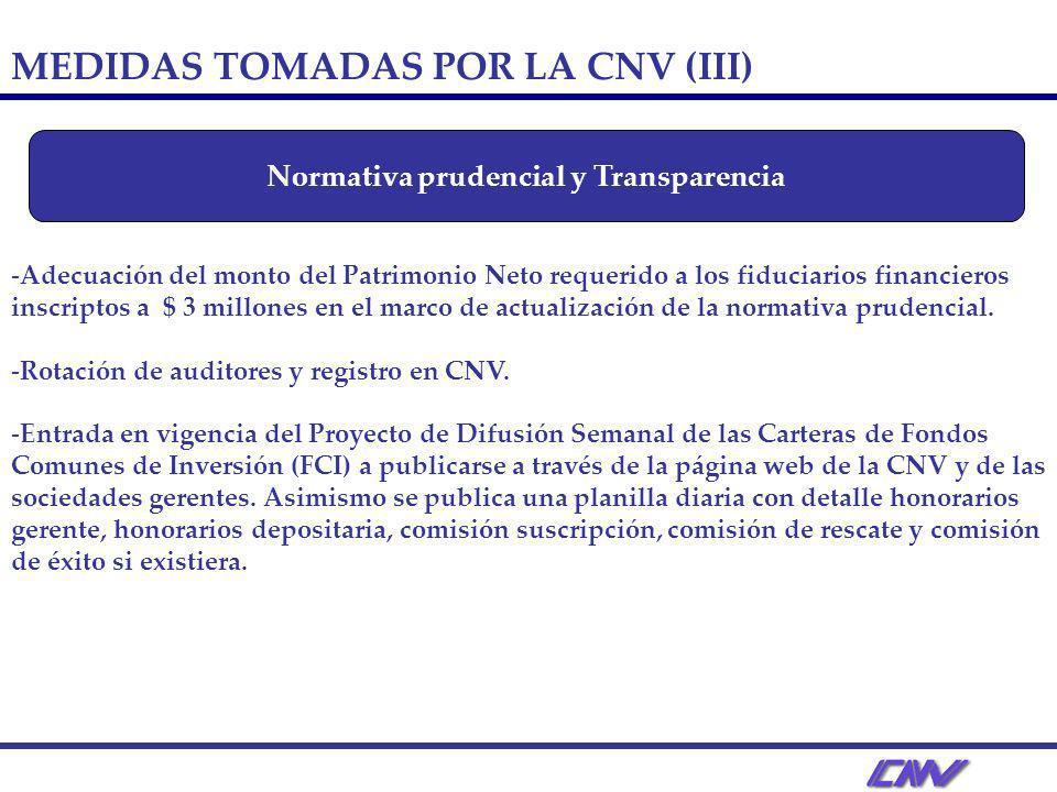 -Adecuación del monto del Patrimonio Neto requerido a los fiduciarios financieros inscriptos a $ 3 millones en el marco de actualización de la normativa prudencial.