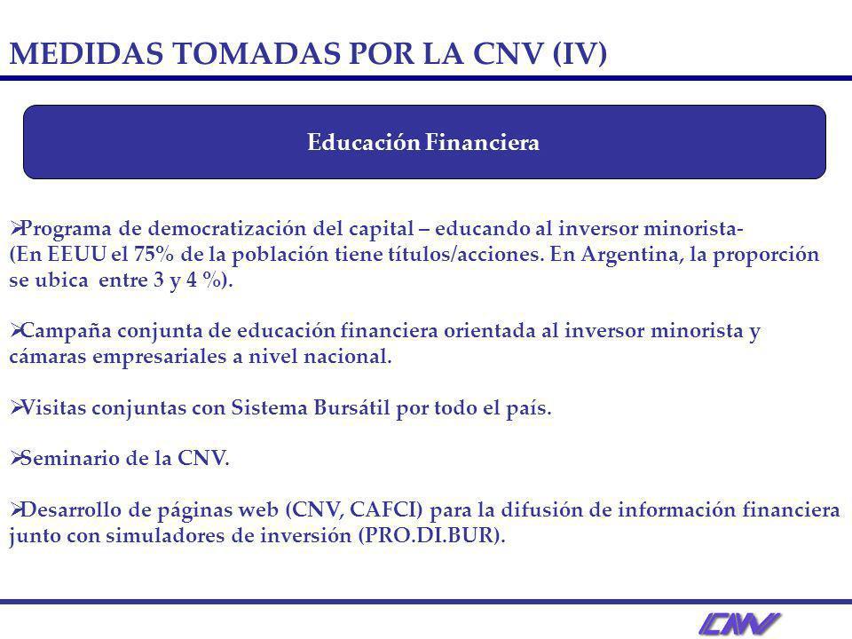 Programa de democratización del capital – educando al inversor minorista- (En EEUU el 75% de la población tiene títulos/acciones.