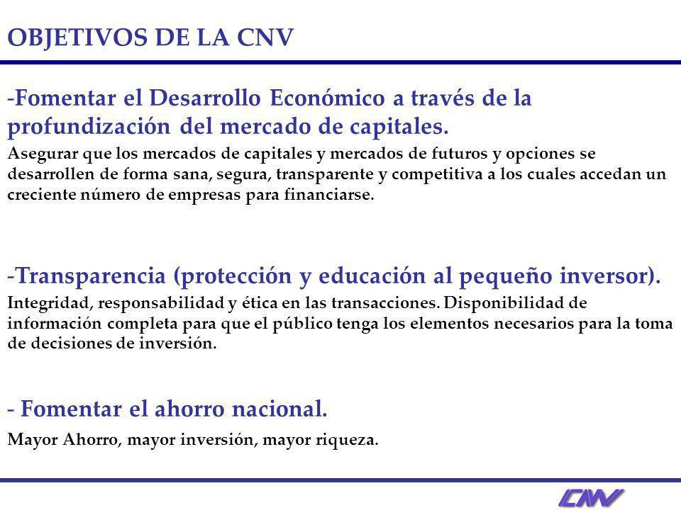 OBJETIVOS DE LA CNV - -Fomentar el Desarrollo Económico a través de la profundización del mercado de capitales. Asegurar que los mercados de capitales