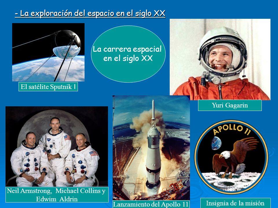 - La exploración del espacio en el siglo XX La carrera espacial en el siglo XX Yuri Gagarin El satélite Sputnik I Lanzamiento del Apollo 11 Neil Armstrong, Michael Collins y Edwim Aldrin Insignia de la misión