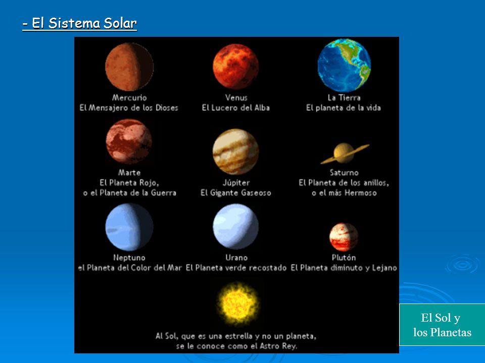 - El Sistema Solar El Sol y los Planetas