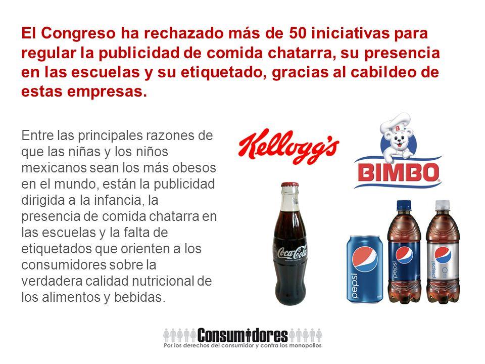 El Congreso ha rechazado más de 50 iniciativas para regular la publicidad de comida chatarra, su presencia en las escuelas y su etiquetado, gracias al cabildeo de estas empresas.