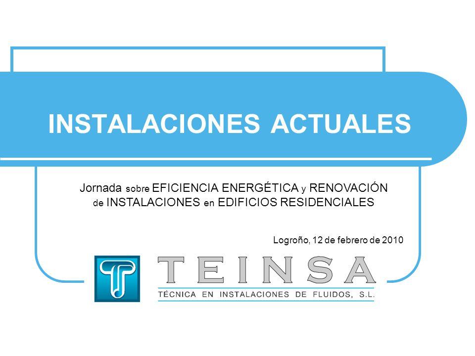 INSTALACIONES ACTUALES Jornada sobre EFICIENCIA ENERGÉTICA y RENOVACIÓN de INSTALACIONES en EDIFICIOS RESIDENCIALES Logroño, 12 de febrero de 2010