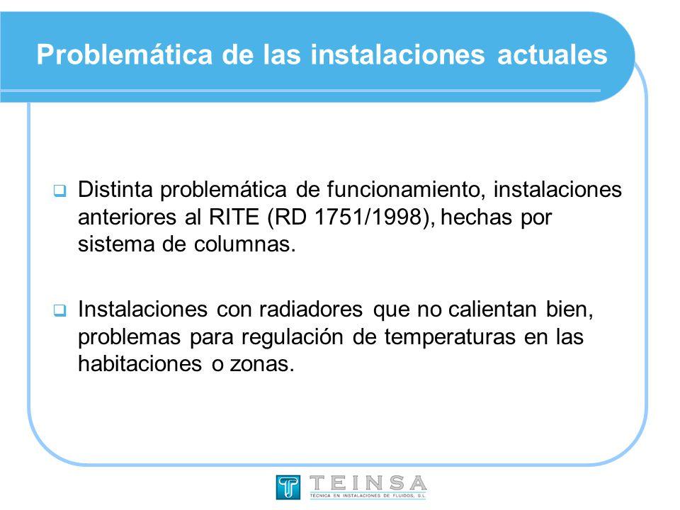 Problemática de las instalaciones actuales Distinta problemática de funcionamiento, instalaciones anteriores al RITE (RD 1751/1998), hechas por sistem