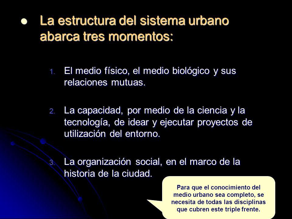 La estructura del sistema urbano abarca tres momentos: La estructura del sistema urbano abarca tres momentos: 1.
