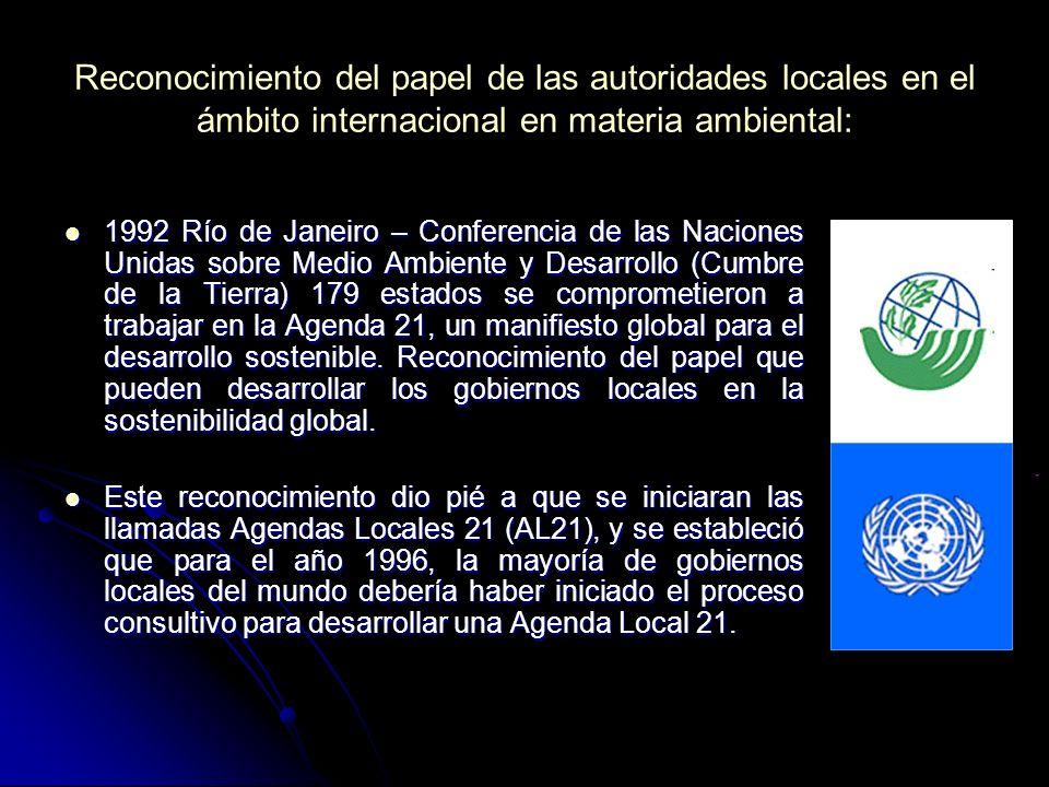 Reconocimiento del papel de las autoridades locales en el ámbito internacional en materia ambiental: 1992 Río de Janeiro – Conferencia de las Naciones Unidas sobre Medio Ambiente y Desarrollo (Cumbre de la Tierra) 179 estados se comprometieron a trabajar en la Agenda 21, un manifiesto global para el desarrollo sostenible.