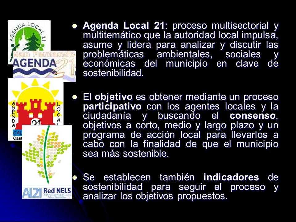Agenda Local 21: proceso multisectorial y multitemático que la autoridad local impulsa, asume y lidera para analizar y discutir las problemáticas ambientales, sociales y económicas del municipio en clave de sostenibilidad.