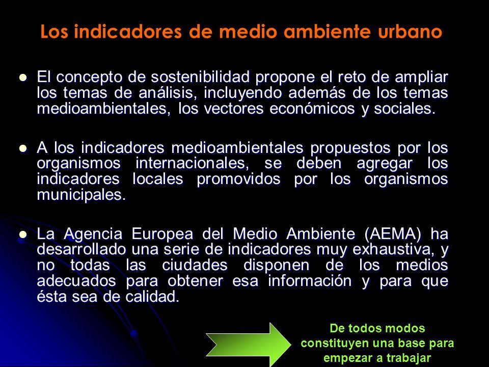 Los indicadores de medio ambiente urbano El concepto de sostenibilidad propone el reto de ampliar los temas de análisis, incluyendo además de los temas medioambientales, los vectores económicos y sociales.