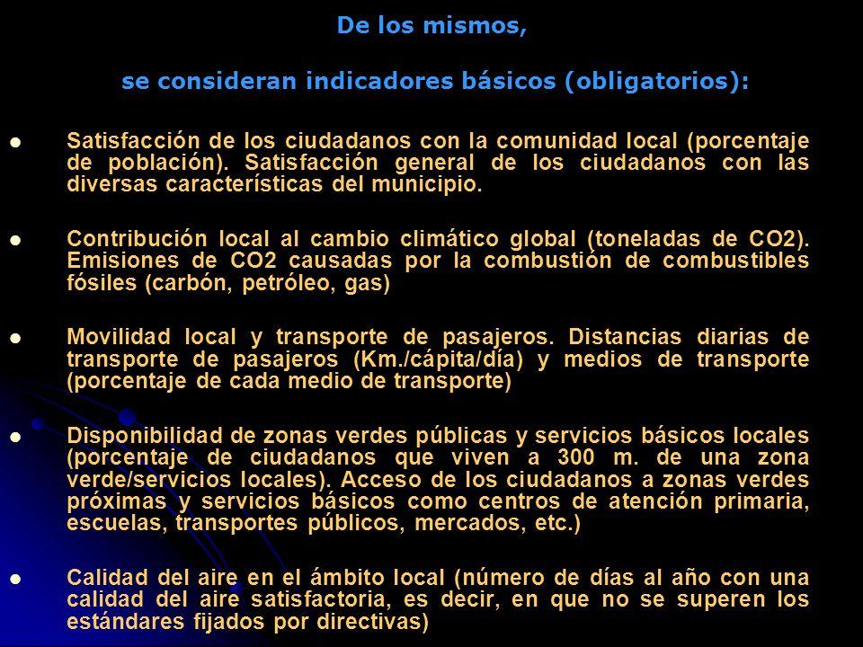De los mismos, se consideran indicadores básicos (obligatorios): Satisfacción de los ciudadanos con la comunidad local (porcentaje de población).