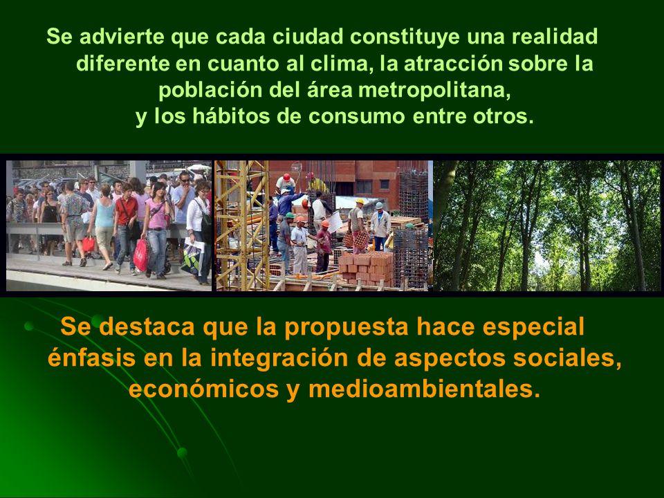 Se advierte que cada ciudad constituye una realidad diferente en cuanto al clima, la atracción sobre la población del área metropolitana, y los hábitos de consumo entre otros.