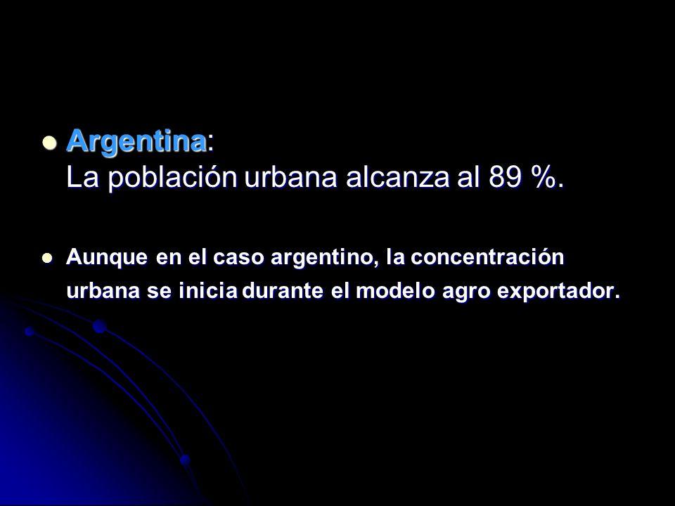 Argentina: La población urbana alcanza al 89 %.Argentina: La población urbana alcanza al 89 %.