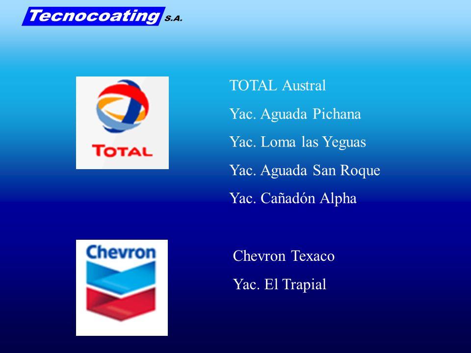 TOTAL Austral Yac. Aguada Pichana Yac. Loma las Yeguas Yac. Aguada San Roque Yac. Cañadón Alpha Chevron Texaco Yac. El Trapial